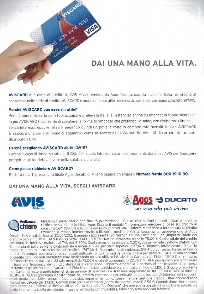 Locandina AVIS Card_Carta di Credito_Immagine